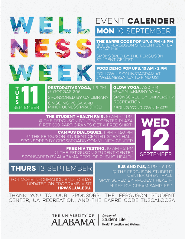 Calendar of events for the upcoming 4th annual wellness week.